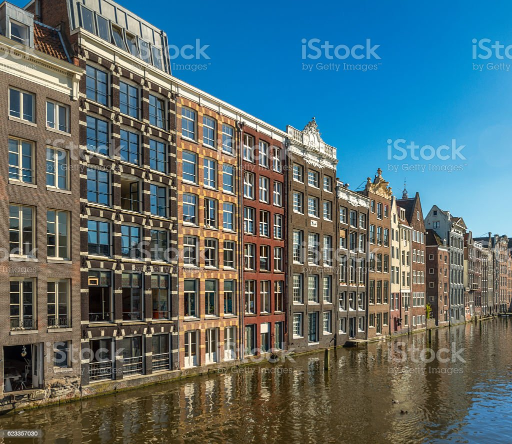 Typical Dutch Houses in the Center of Amsterdam stock photo