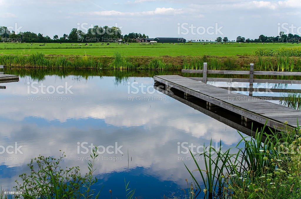 Typical Dutch polder background stock photo