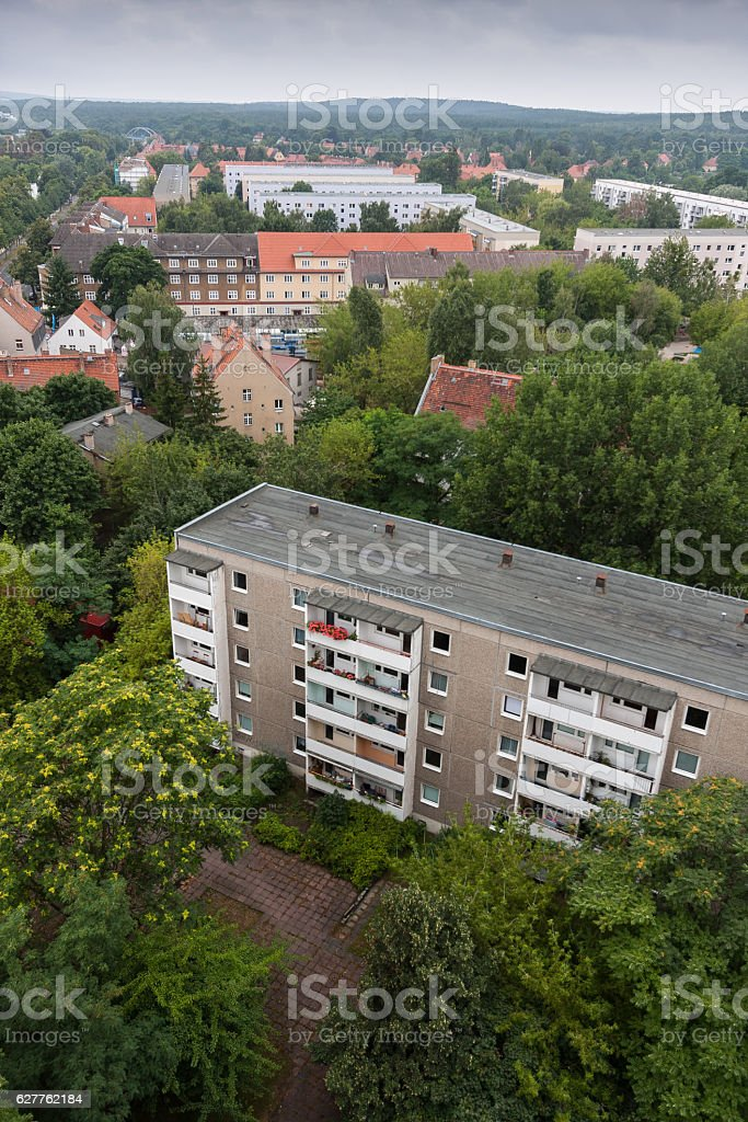 Typical eastern German appartment building stock photo