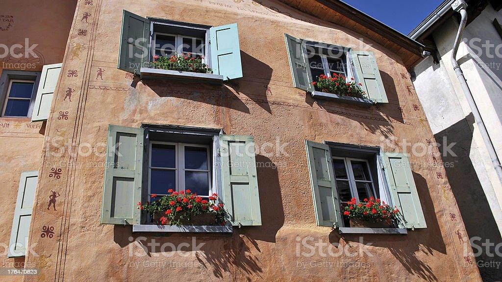 Typical 'Engadiner Haus' in Guarda (Graub?nden, Switzerland) royalty-free stock photo