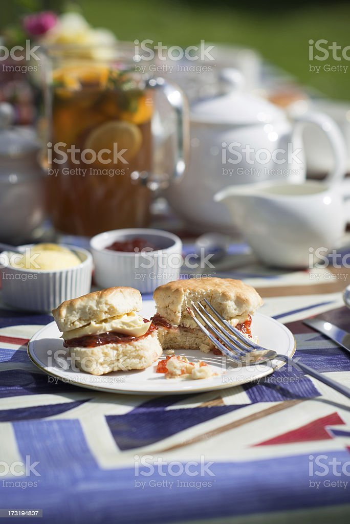 Typical English Afternoon Tea of Scone Cream and Jam stock photo