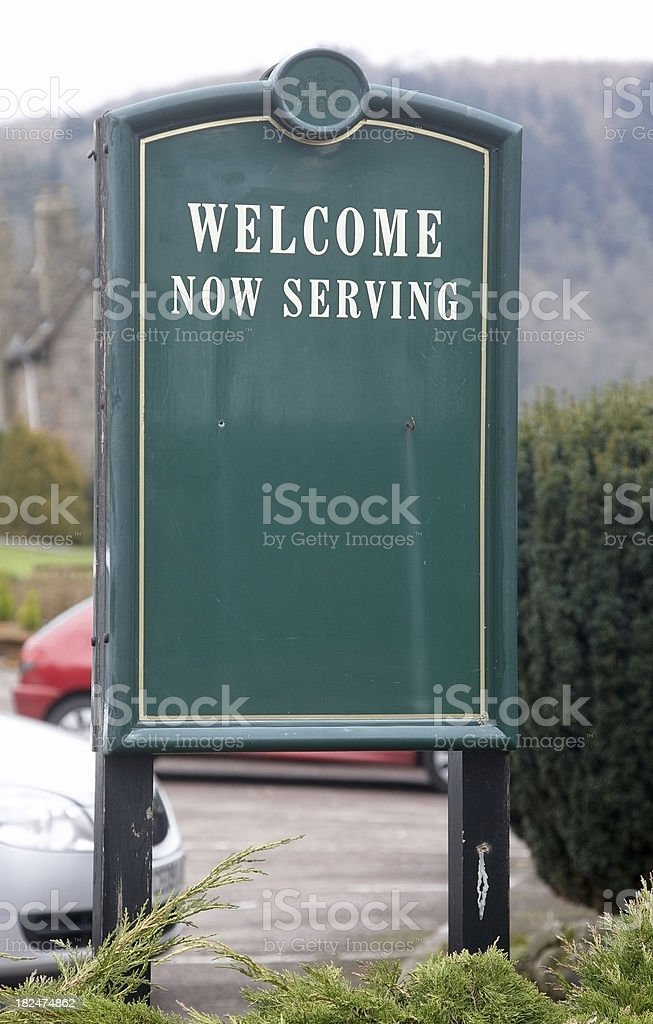Typical English hotel external menu board royalty-free stock photo