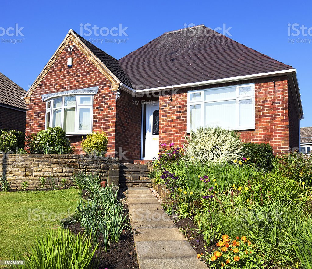 Typical english house with a garden stock photo