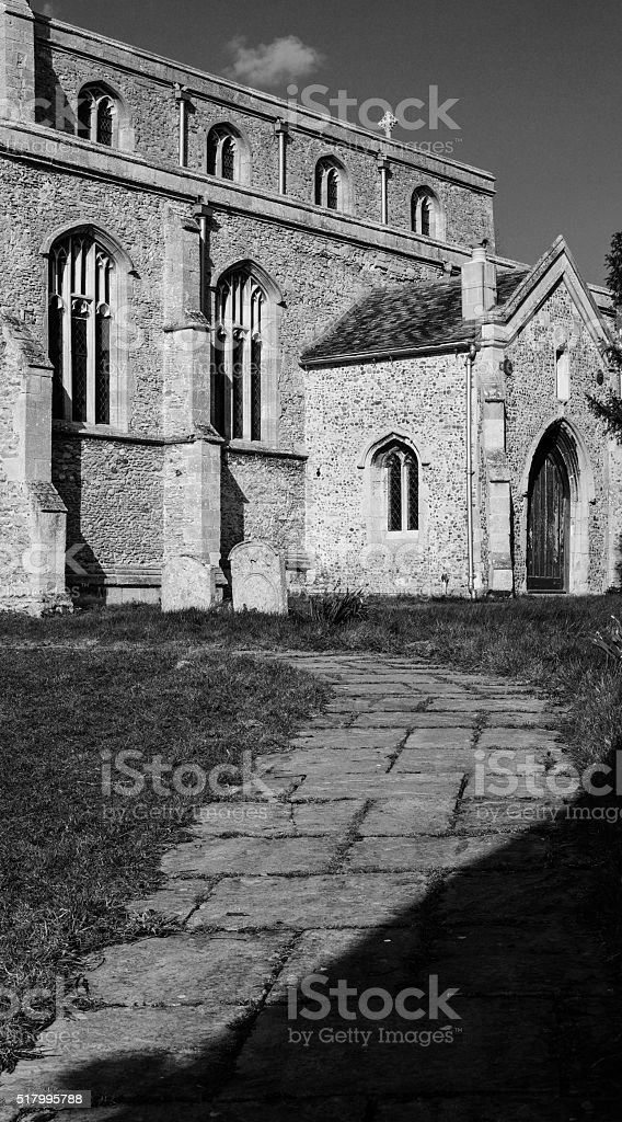 Typical entrance to a church stock photo