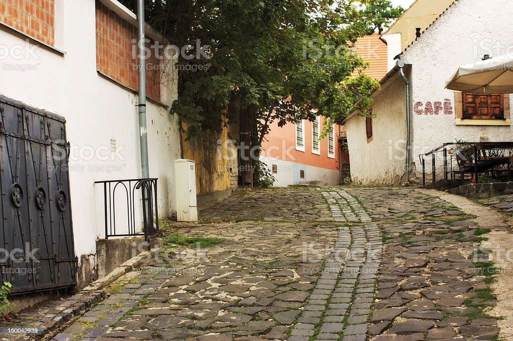 Typical European alley, Szentendre Hungary stock photo