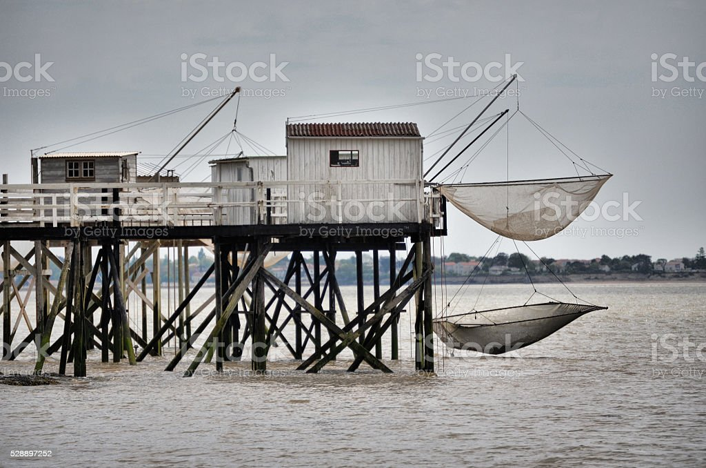 Typical fishermen huts built on stilts, in Fouras (Charentes, France) royalty-free stock photo