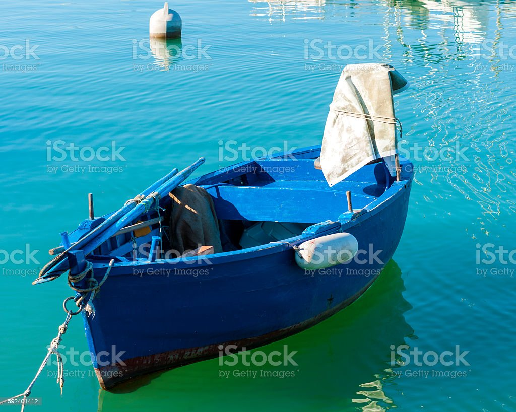 Typical fishing rowboats called gozzo stock photo