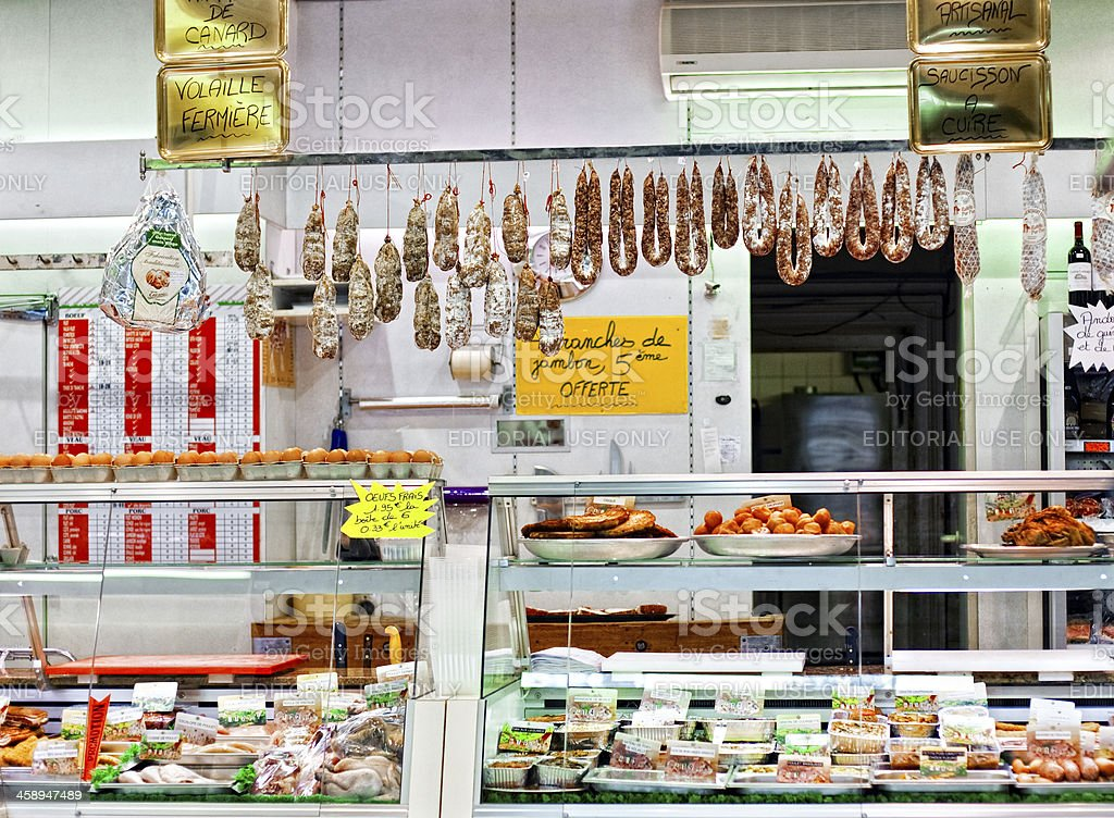 Typical French Butcher Shop stock photo
