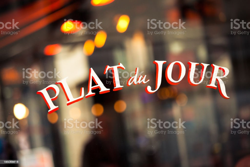 Typical French Cafè in Paris, Plat du Jour stock photo