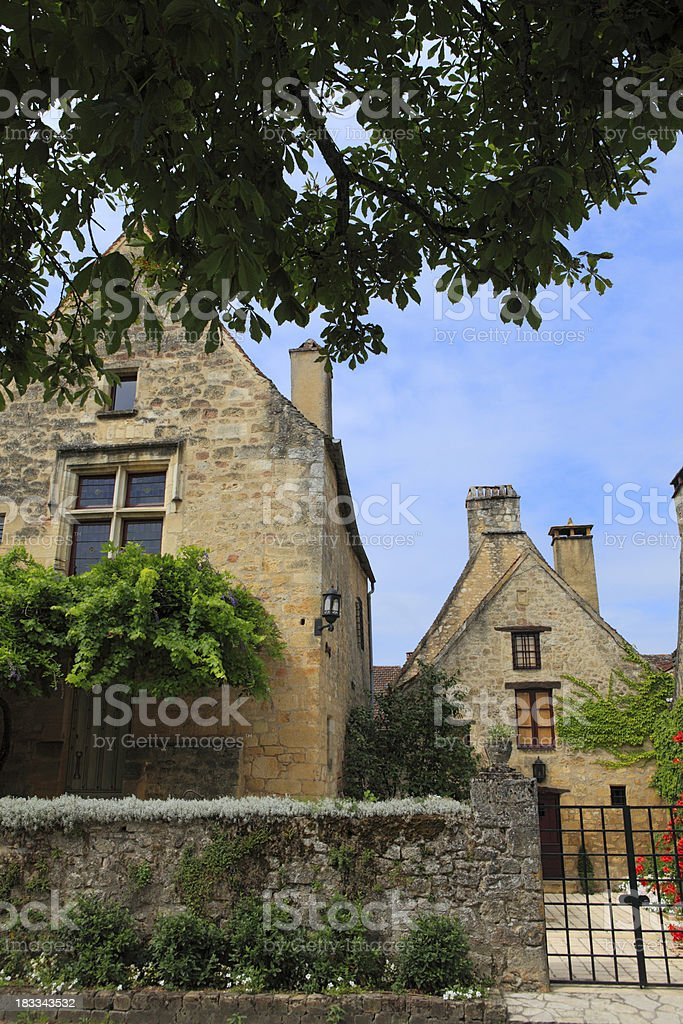 typical French house in the centre of Domme stock photo