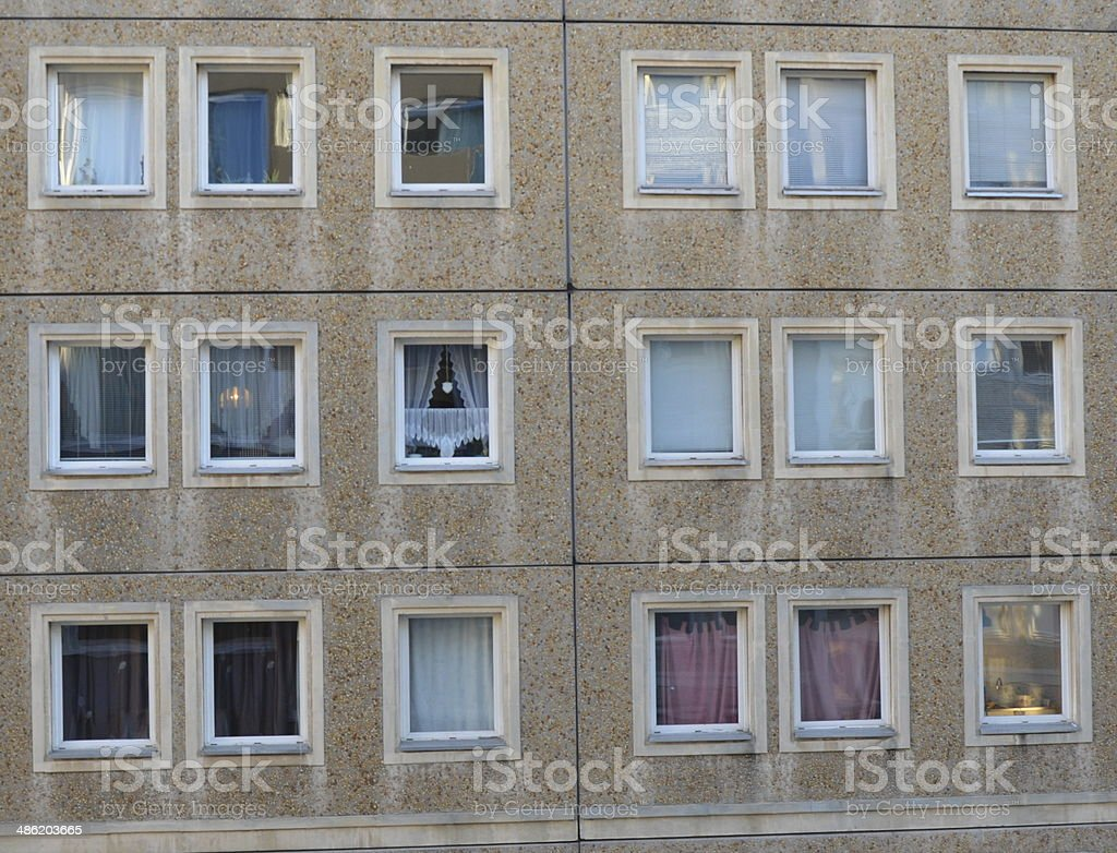 Typical front of a GDR 'Plattenbau' stock photo