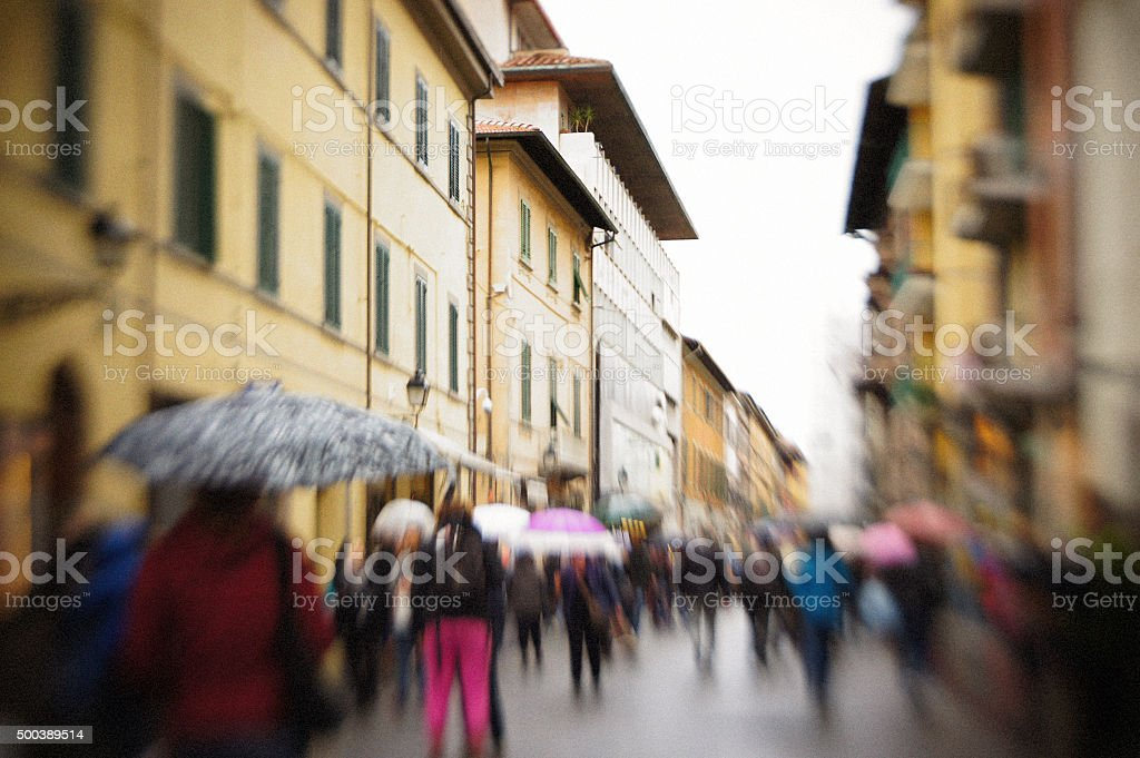 Typical generic Italian High Street with blurred and unrecogniza stock photo
