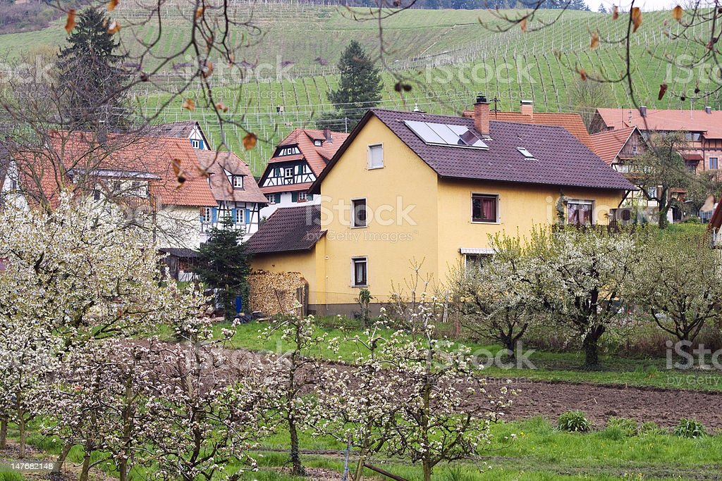 Typical german architecture in spring village royalty-free stock photo