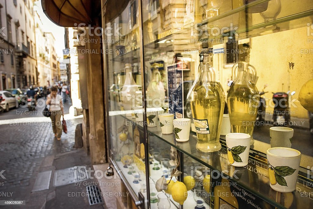 Typical gourmet shop in the center of Rome, selling limoncello stock photo
