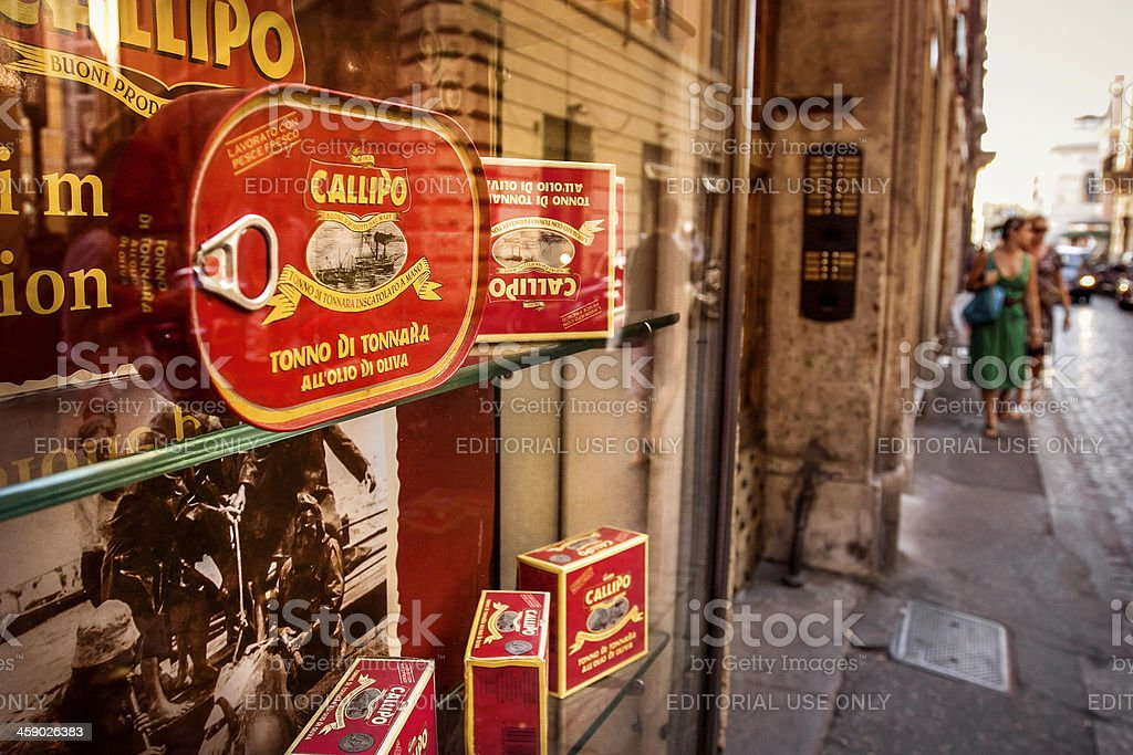 Typical gourmet shop windows in the center of Rome stock photo