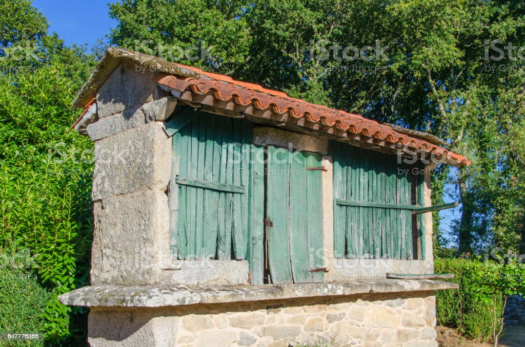 Typical granary called horreo in galicia spain stock photo