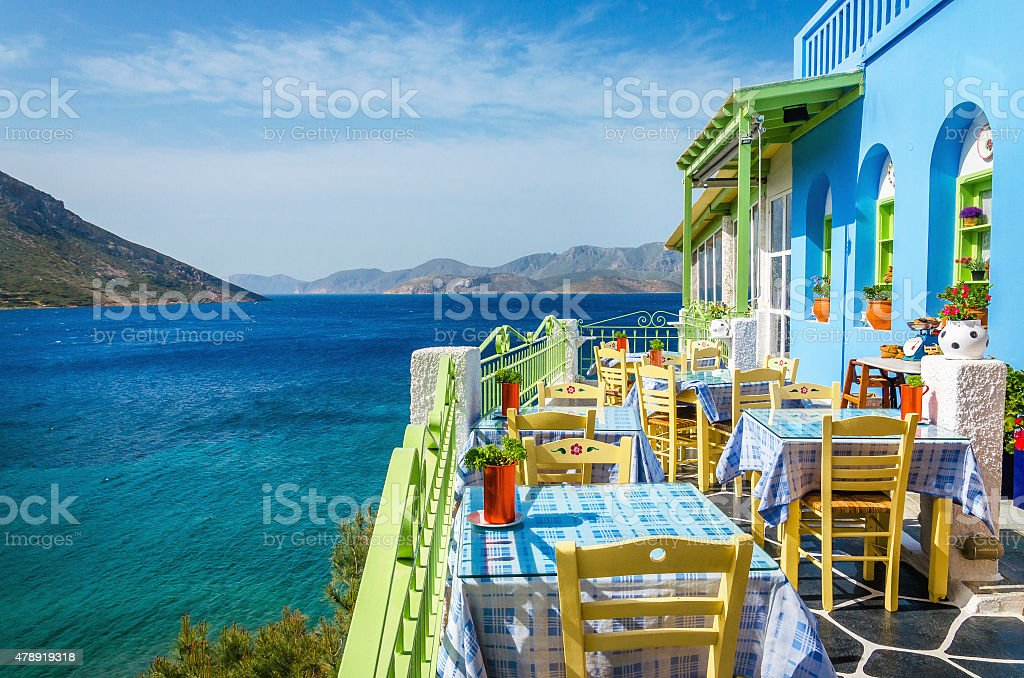 Typical Greek restaurant on the balcony, Greece stock photo