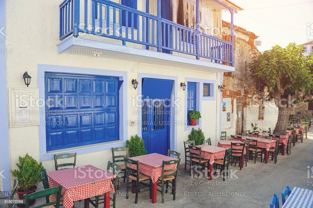 Typical greek restaurant stock photo