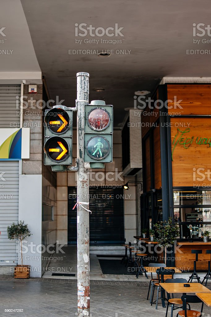 Typical Greek semaphore in central Athens stock photo