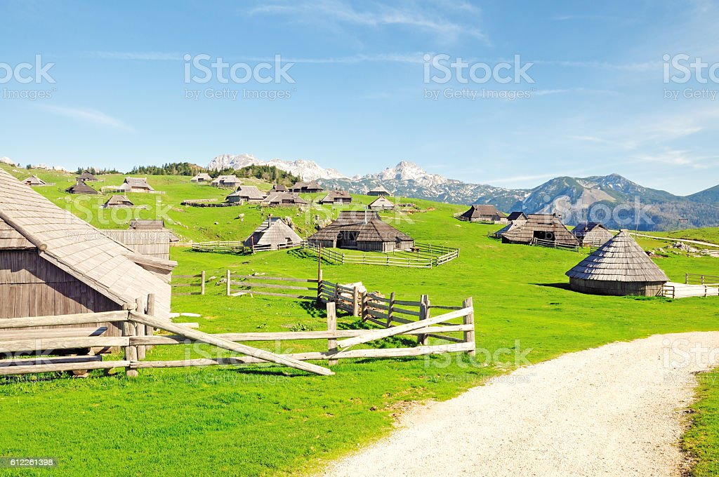 Typical Herdsmen's Wooden Huts, Velika Planina, Slovenia stock photo