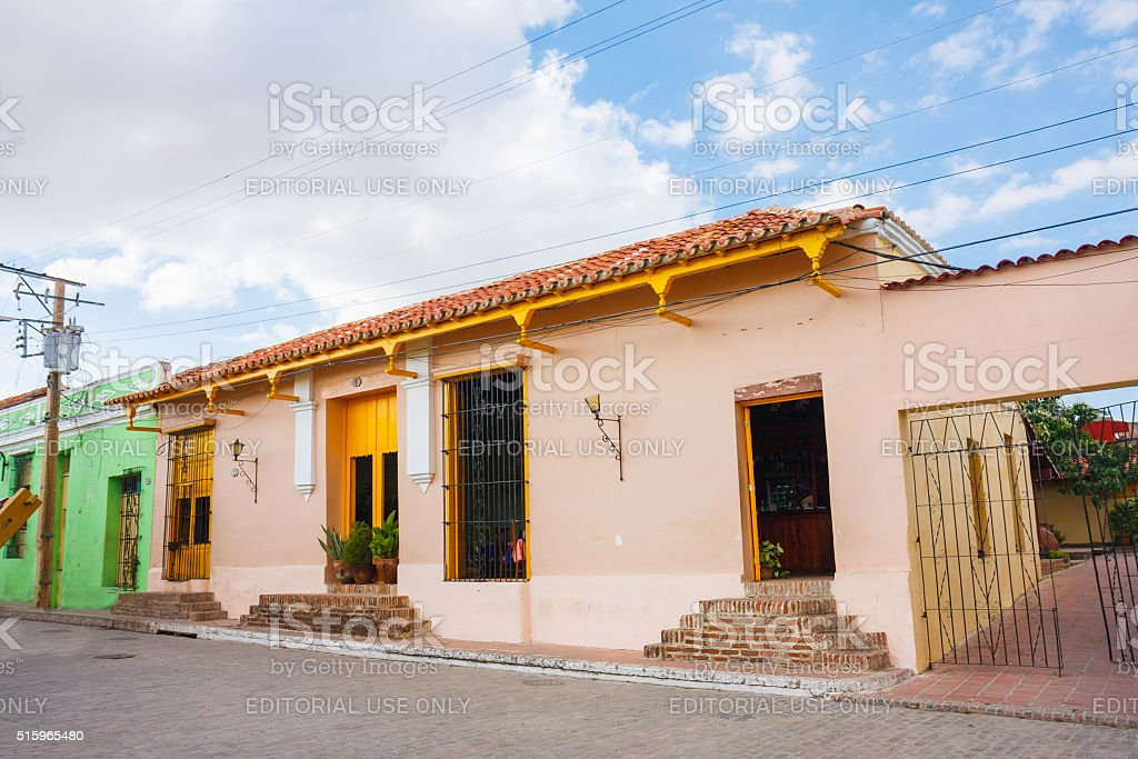 Typical house detail in Camaguey stock photo