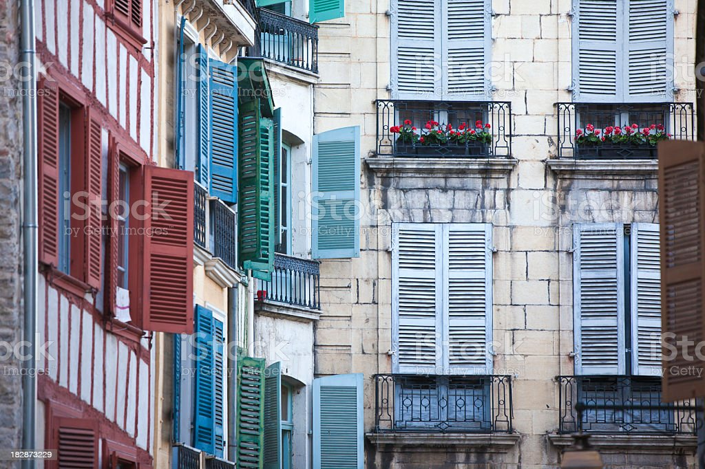 Typical house facades in Bayonne, France stock photo