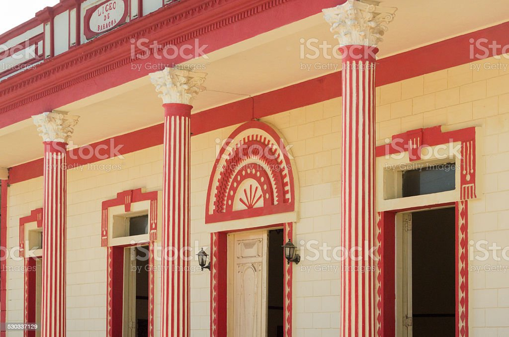 Typical house with colonades in Baracoa, Cuba stock photo