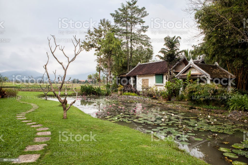 Typical houses in Luang Prabang, Laos stock photo