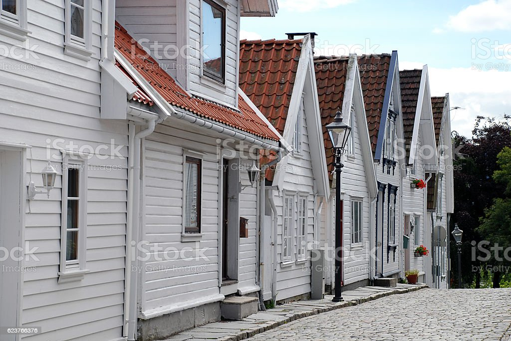 Typical houses in Old Stavanger (called 'Gamle Stavanger'), Norway stock photo