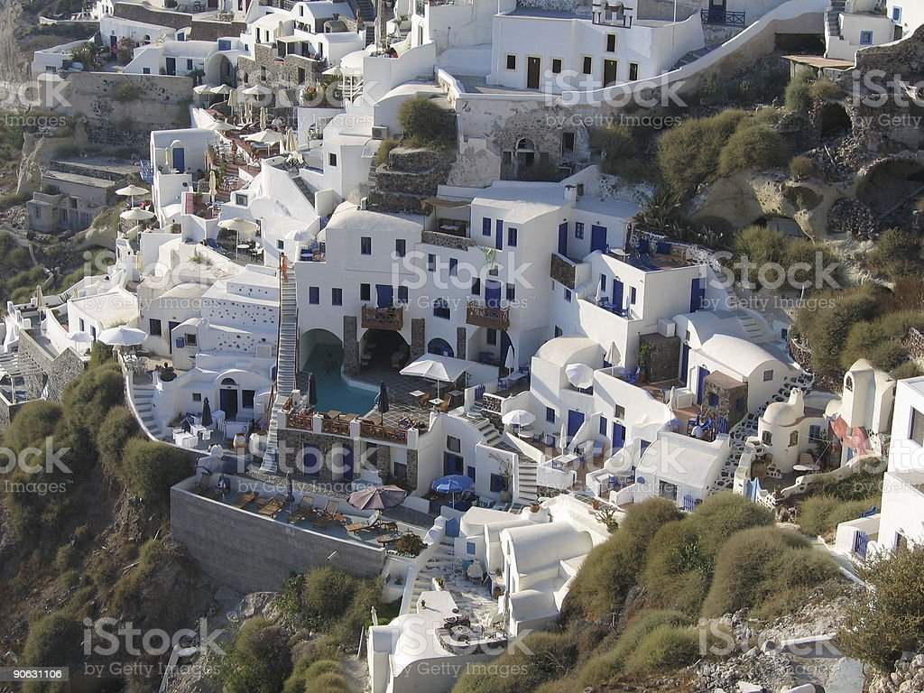 Typical houses in Santorini stock photo