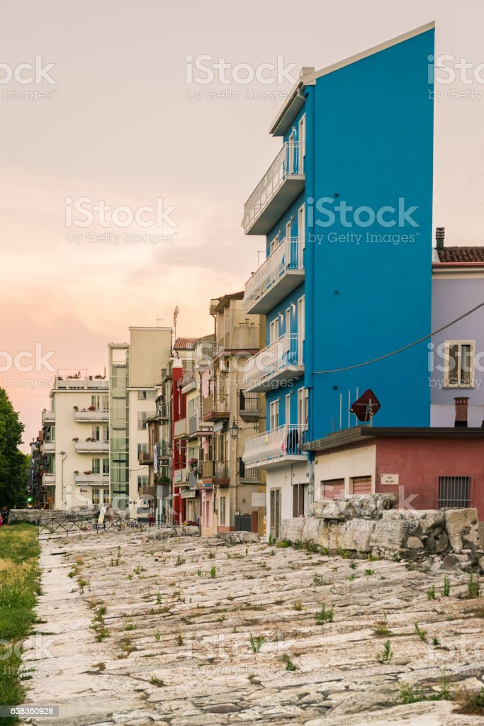 Typical houses in Sottomarina (Italy). stock photo