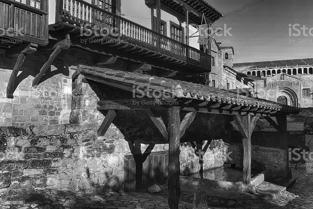Typical houses in World Heritage town of Santillana del Mar, stock photo