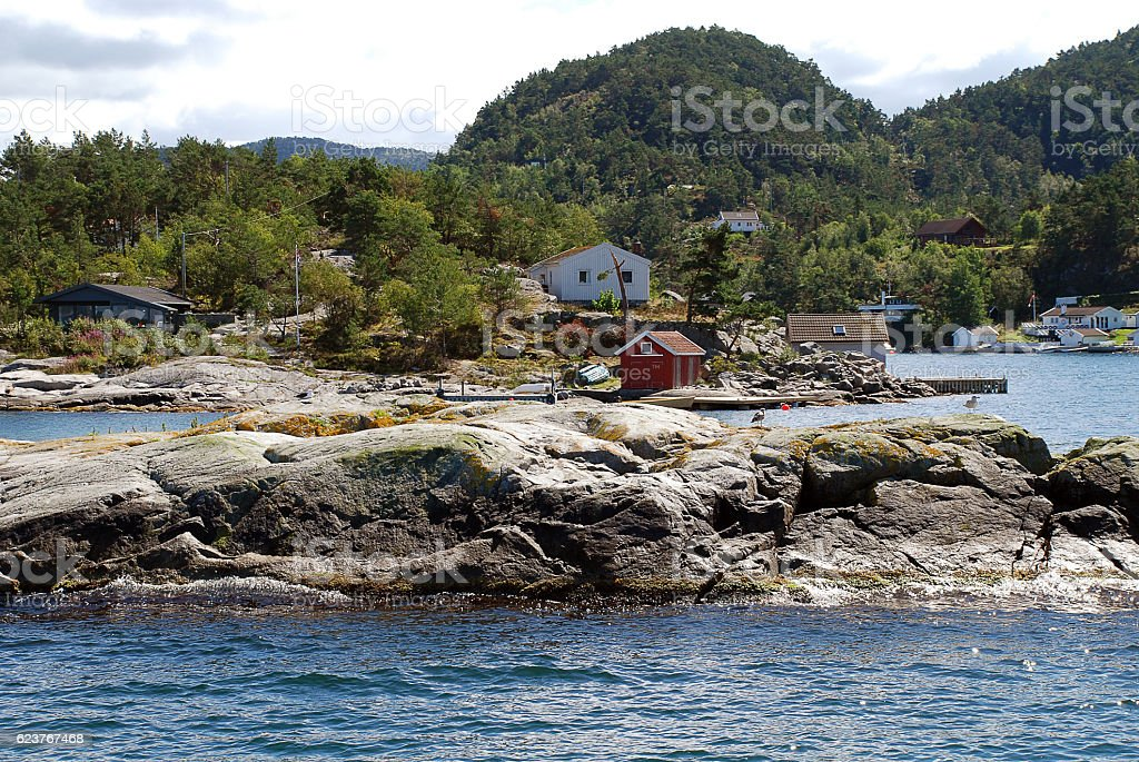 Typical houses nearby the Lysefjord (Stavanger, Norway) stock photo