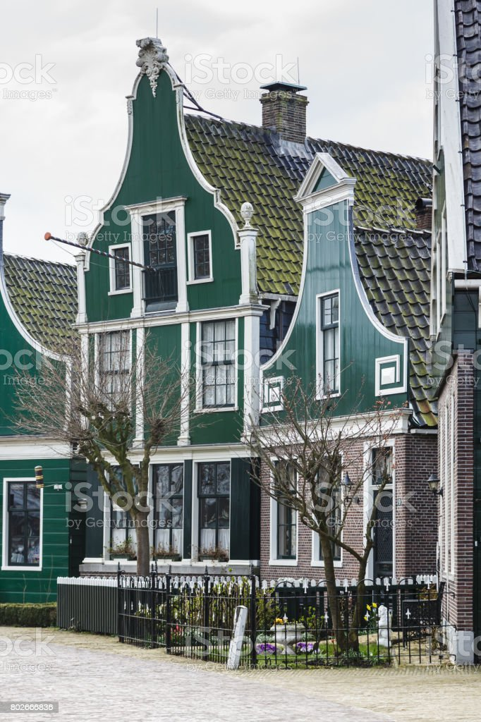 Typical houses of the Zaanse Schans in Holland, the Netherlands stock photo