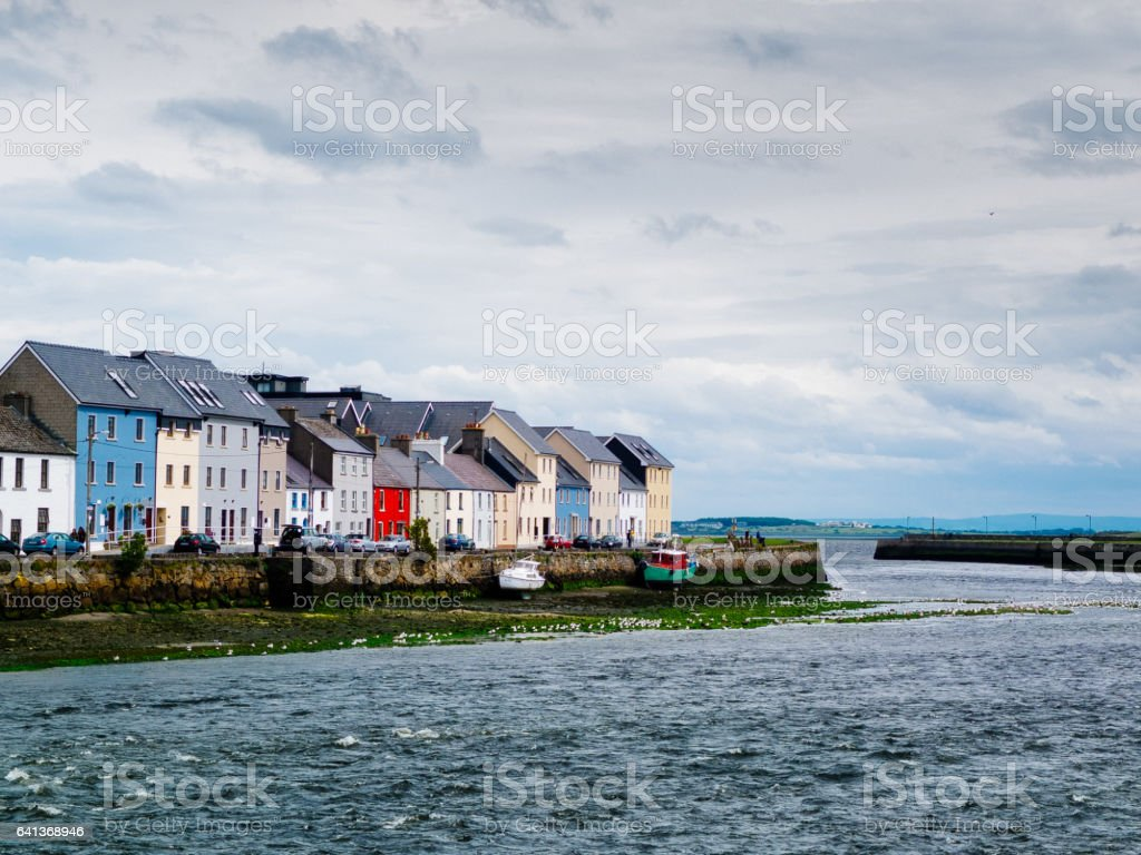 Typical houses on the small port of Galway stock photo