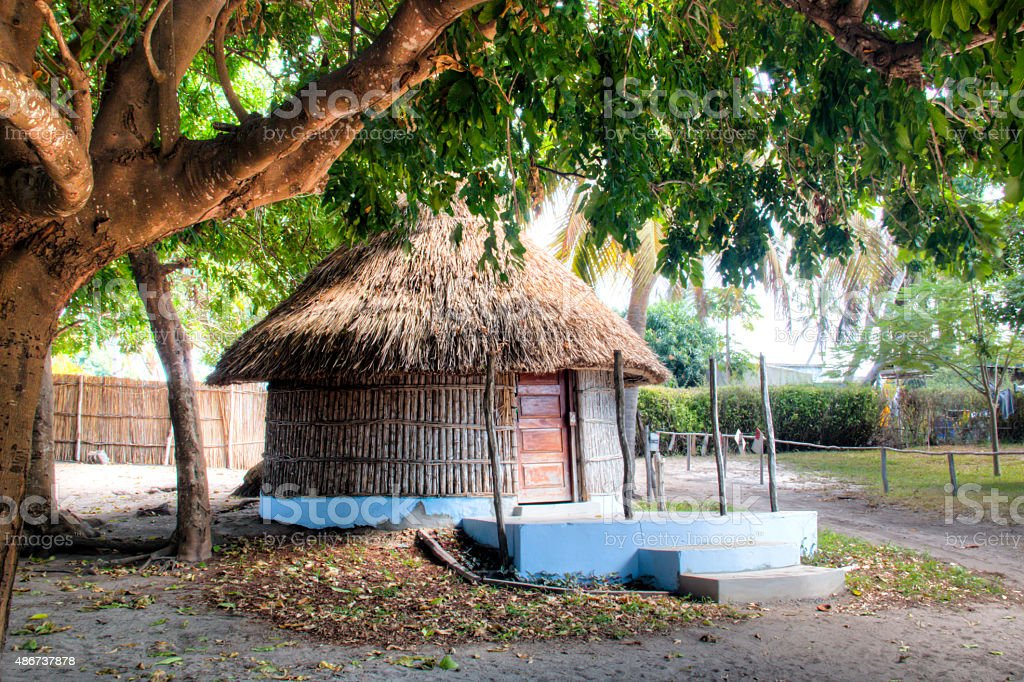 Typical hut in Vilanculos in Mozambique stock photo