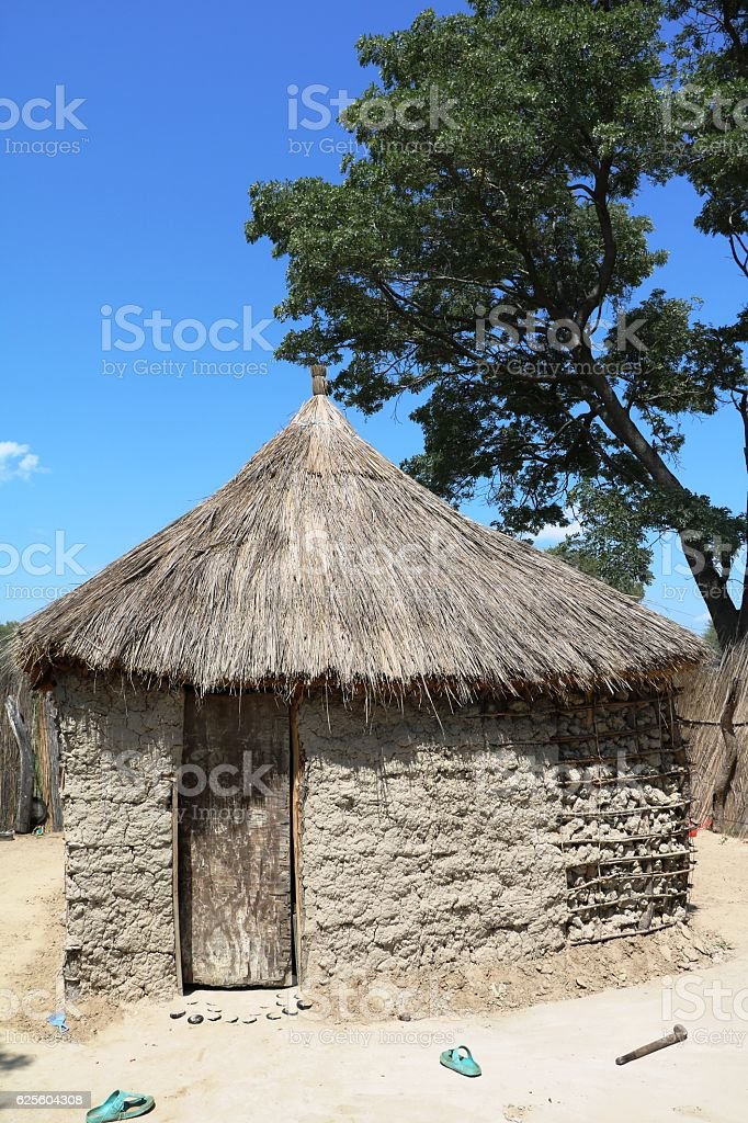 Typical huts of the San in Namibia, Africa stock photo