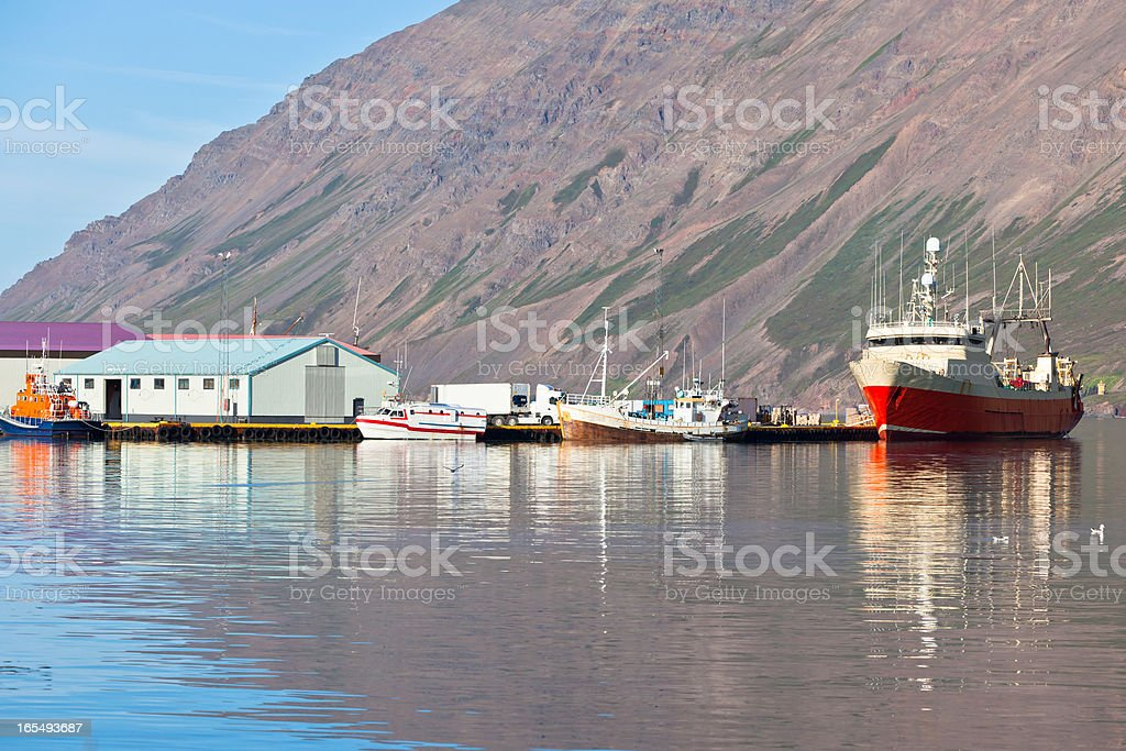 Typical Iceland Harbor with Fishing Boats royalty-free stock photo