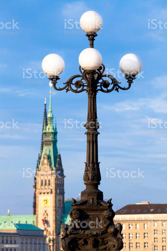 Typical illumination in Hamburg stock photo