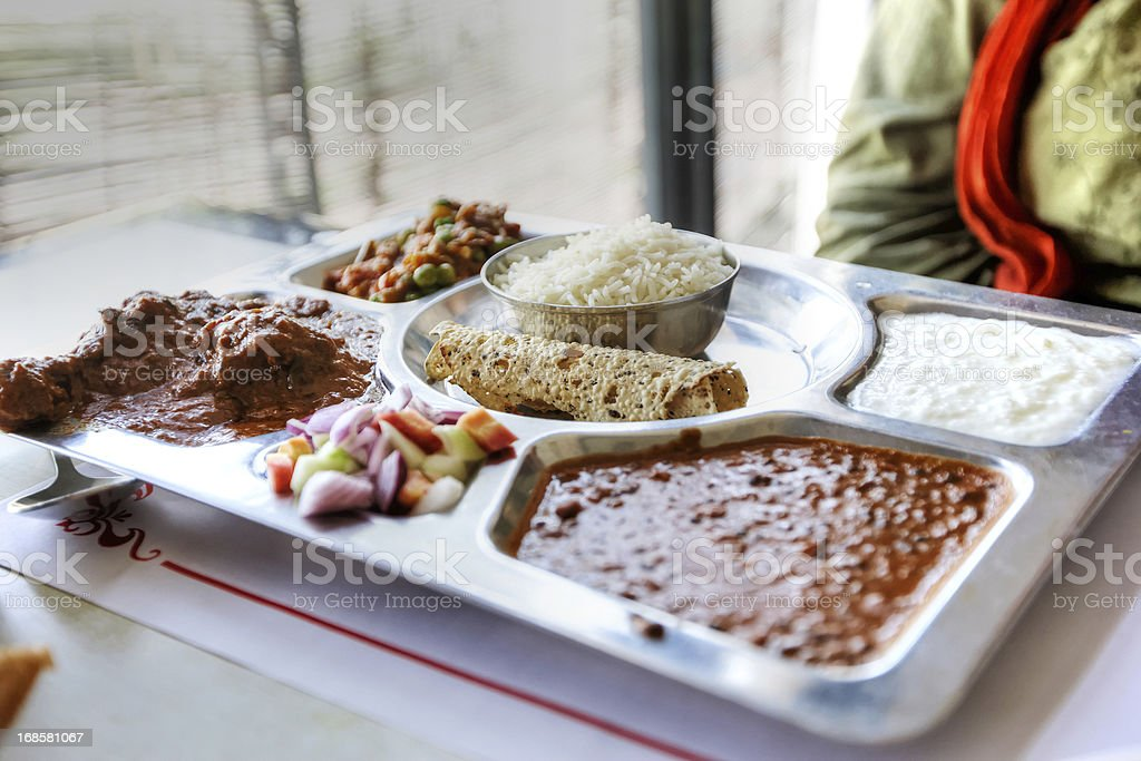Typical indian thali lunch stock photo