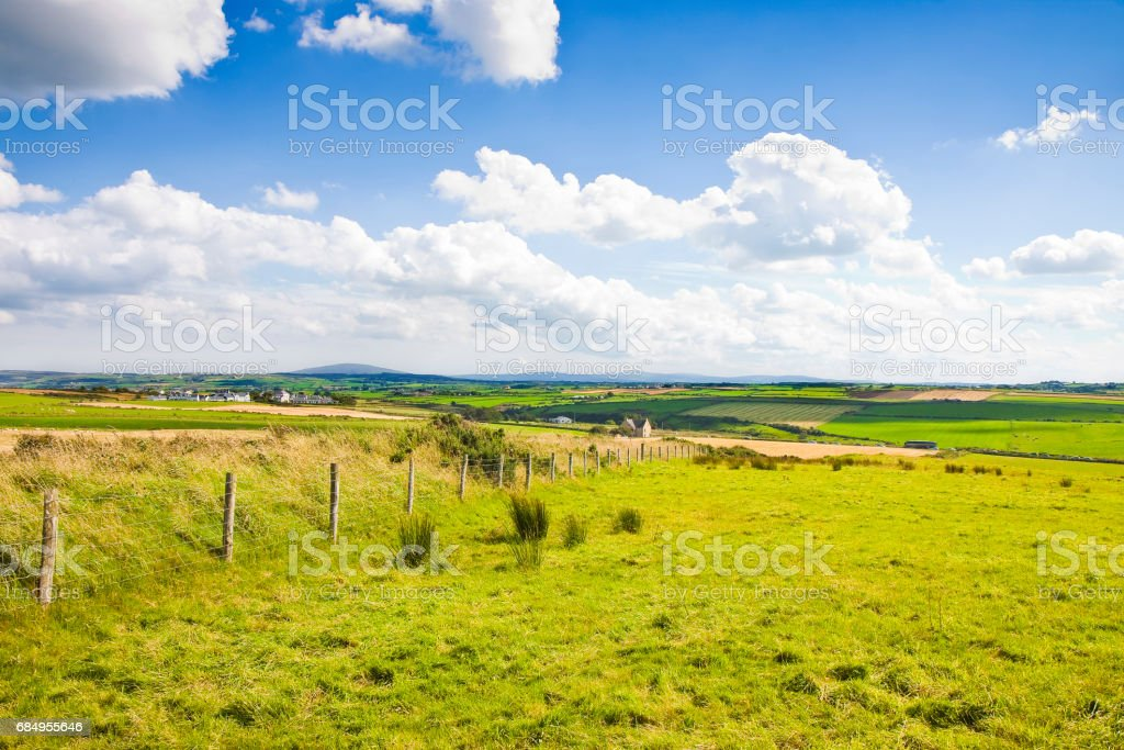 Typical Irish flat landscape with fields of grass and wooden fence  for grazing animals (Ireland) stock photo