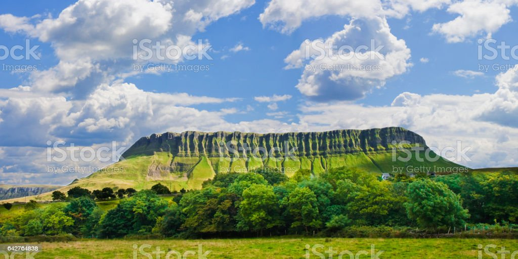 Typical Irish landscape with the Ben Bulben mountain called 'table mountain' for its particular shape stock photo