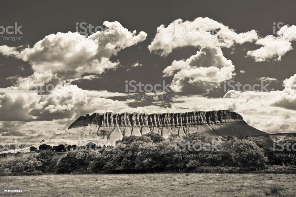 Typical Irish landscape with the Ben Bulben mountain called 'table mountain' for its particular shape (county of Sligo - Ireland) stock photo