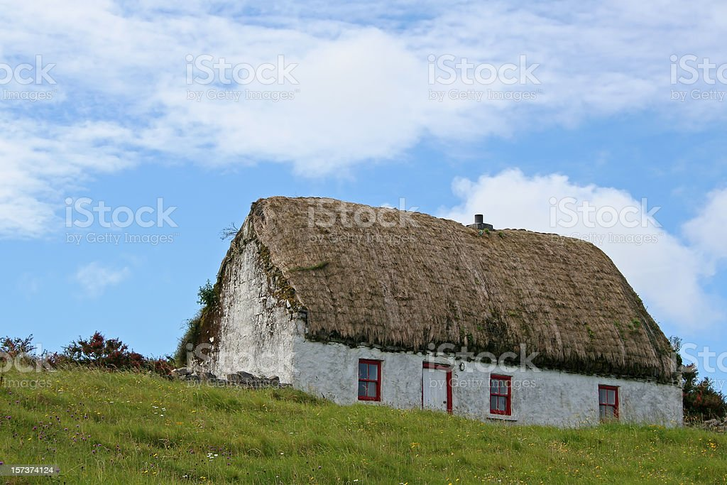 Typical Irish Thatched Cottage, Aran Islands stock photo