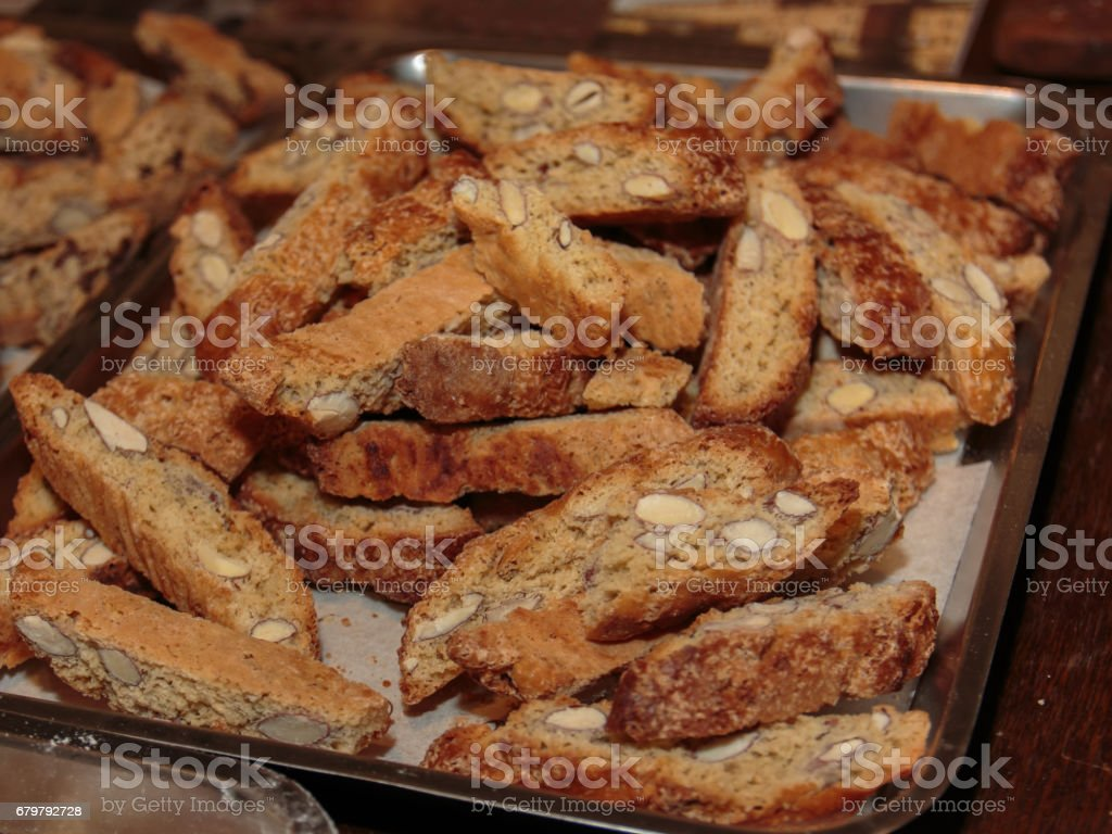 Typical Italian Biscuit with Almond: Crumbly Cantucci from Tuscany stock photo
