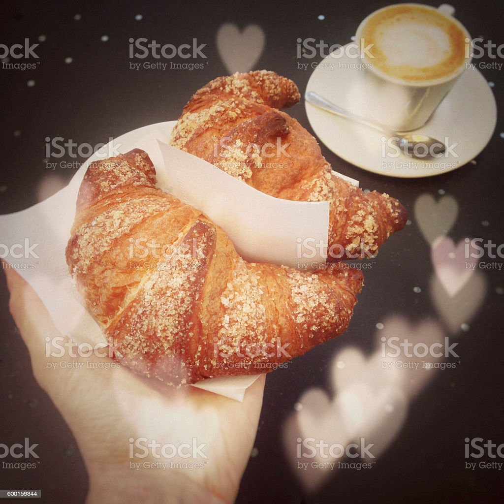 Typical Italian breakfast with love stock photo