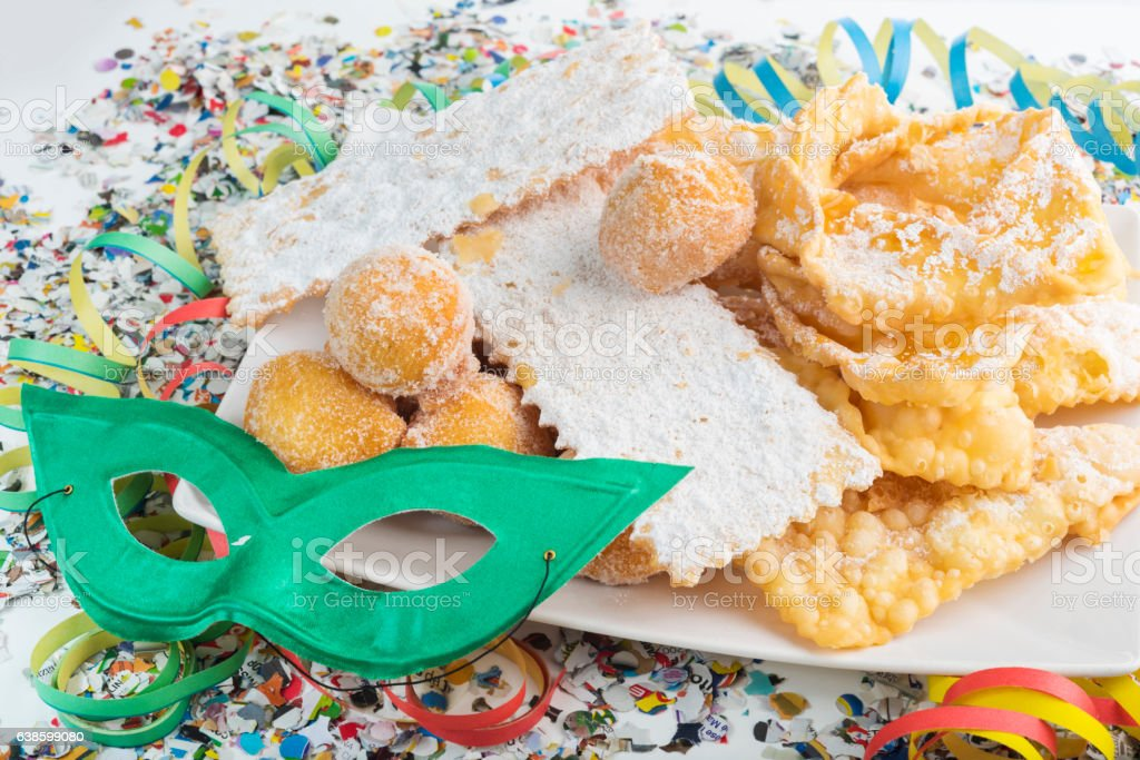 Typical Italian dessert for carnival, 'chiacchiere' or frappe. stock photo
