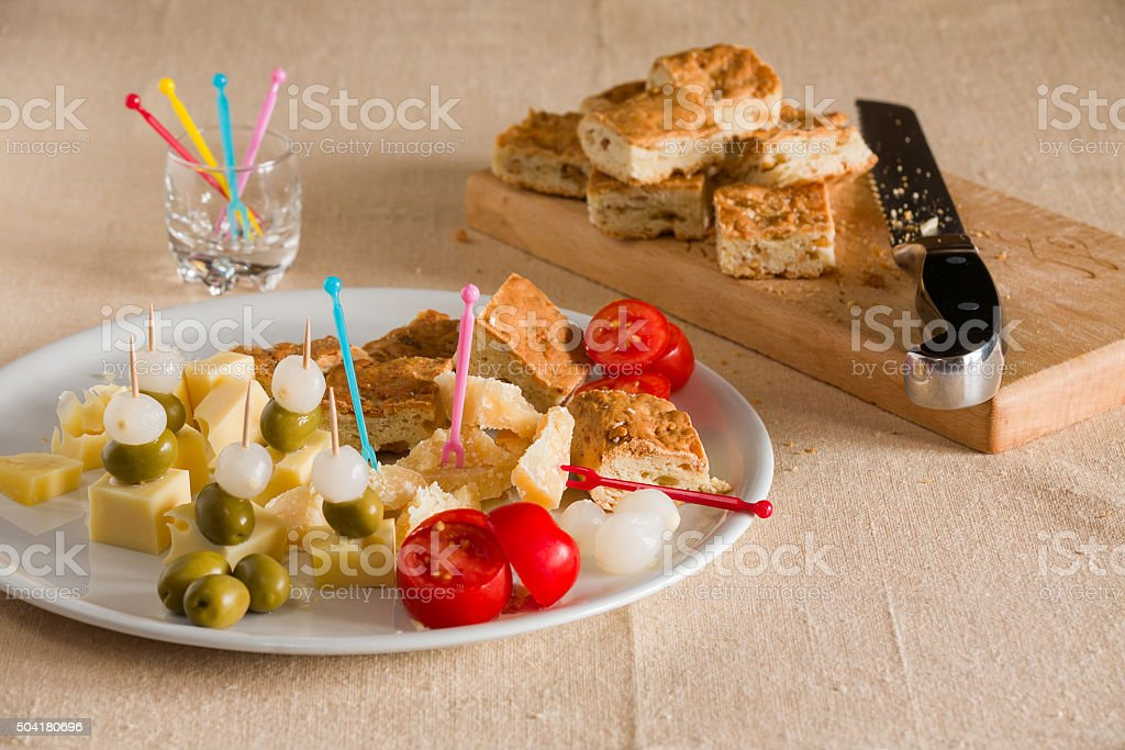 Typical italian pizza with grascelli stock photo