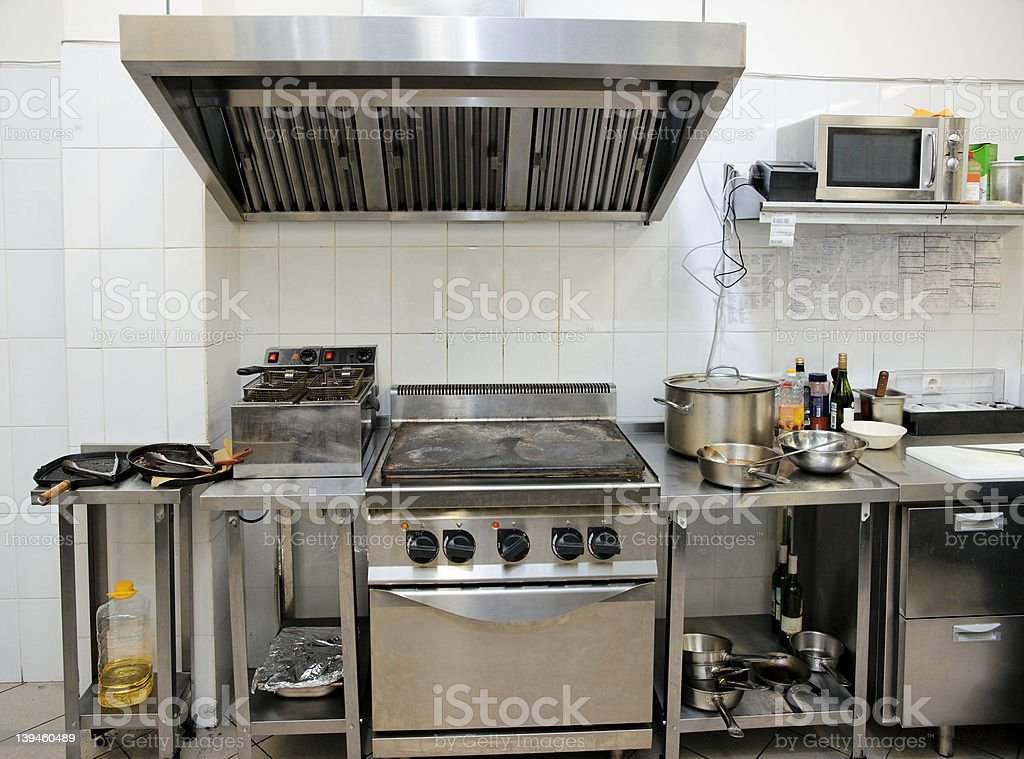 Typical kitchen of a restaurant royalty-free stock photo