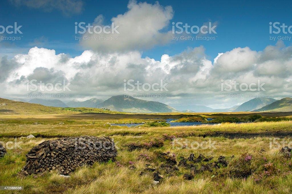 Typical landscape in Connemara, Ireland stock photo